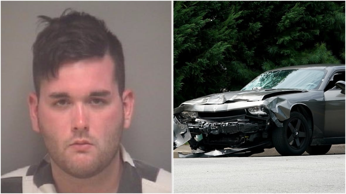 James Alex Fields Jr., 20, has been charged with second-degree murder, three counts of malicious wounding and one count related to leaving the scene in relation to a violent incident in which a car rammed counter-protesters. (Charlottesville Police Department/Reuters, Win McNamee/Getty)