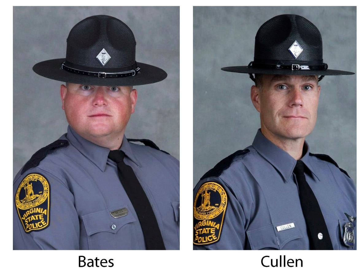 Virginia State Police Trooper-Pilot Berke M.M. Bates, left, of Quinton, Va., and Lt. H. Jay Cullen, of Midlothian, Va., were killed Saturday when the helicopter they were piloting crashed while they were helping law enforcement officers monitor the white nationalist rally. (Virginia State Police/Associated Press)