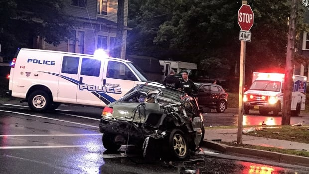 The incidents happened Saturday evening in Truro, N.S., including this crash at the corner of King and Victoria streets.