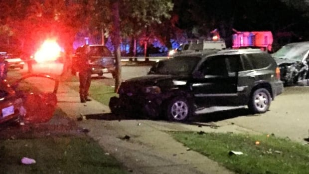 A Brandon woman had to be extracted after a van smashed into four parked cars on E Fotheringham Drive Saturday night.