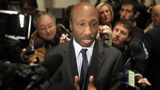 Merck President and CEO, Penn State trustee Kenneth C. Frazier talks to reporters in 2011. He resigned from a U.S. presidential advisory board earlier on Monday and cited a need for U.S. leaders to denounce bigotry following a violent weekend in Charlottesville, Virginia.