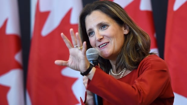 Foreign Affairs Minister Chrystia Freeland discusses modernizing NAFTA at public forum at the University of Ottawa Monday. Talks to renegotiate NAFTA begin Wednesday in Washington, D.C.