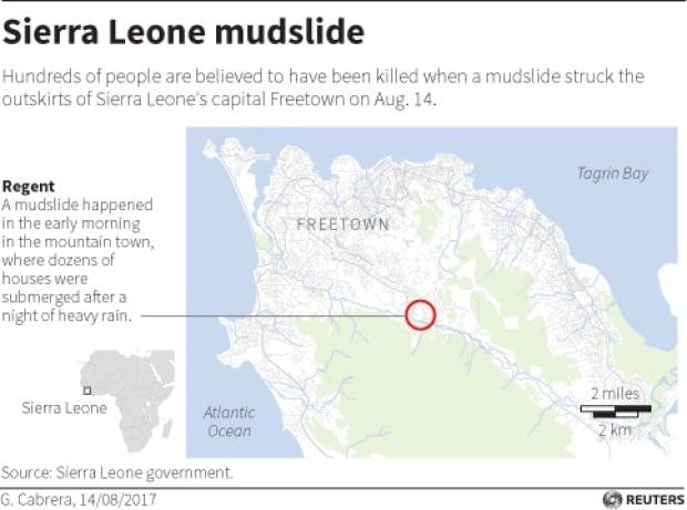 More Than Killed In Sierra Leone Mudslide World CBC News - Sierra leone map