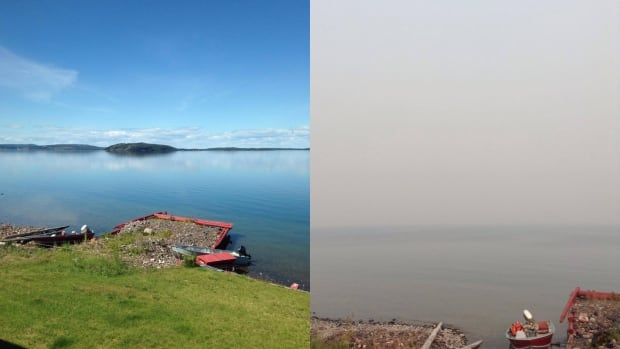 A before and after image showing how smoke has moved into Lutselk'e, N.W.T.