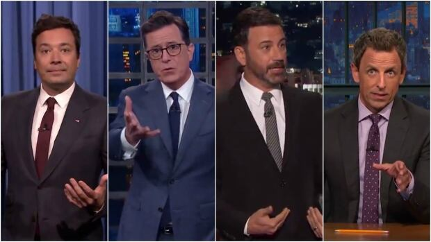 The weekend violence in Charlottesville, Va., prompted late night comics to strike a serious tone at the top of their shows Monday night.