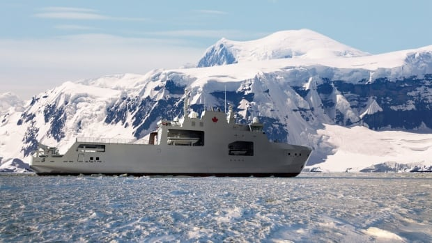 An artistic depiction of an Arctic and offshore patrol vessel in icy waters.