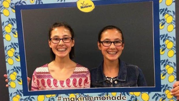 Devyn (left) and Cora Hogg at the Youth Ventures awards in Conception bay South on Aug. 10.