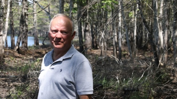 Doug Allen stands on his property in North Kemptville, Yarmouth County. Years of prolonged flooding have killed the trees behind him, and many more.