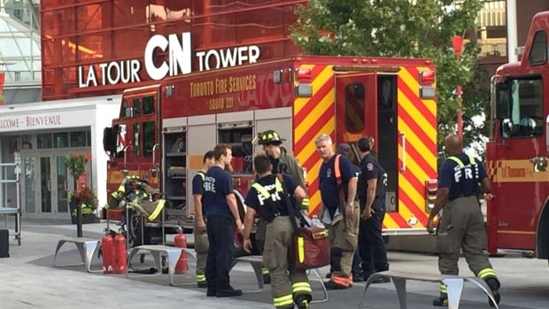 More than 30 firefighters were called to the scene to extinguish a fire that started inside the CN Tower's broadcasting antenna.