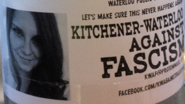 Anti-Fascist Vigil poster seen in downtown Kitchener to promote a vigil Saturday in Waterloo between 12:00 p.m. and 1:00 p.m