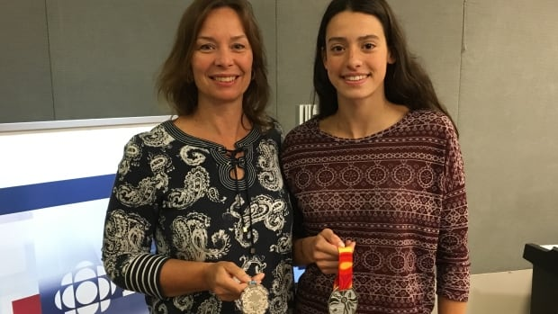 Katherine McQuaid, left, and her daughter Alexa McQuaid, right, have both won silver medals for P.E.I. at the Canada Games.
