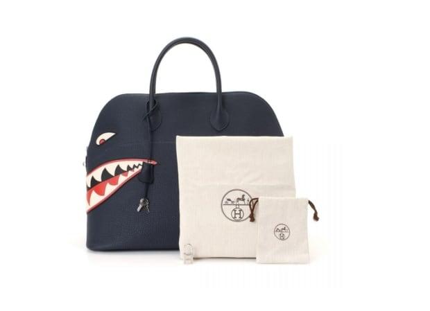 Hermes Bolide 45 Shark Palladium Hardware luxury travel bag