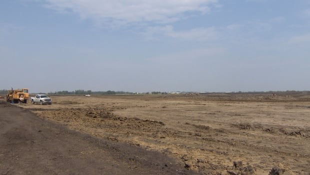 Construction underway Wednesday at the Century Mile Race Track, near the Edmonton International Airport. Once completed, the track will be the longest in Western Canada.