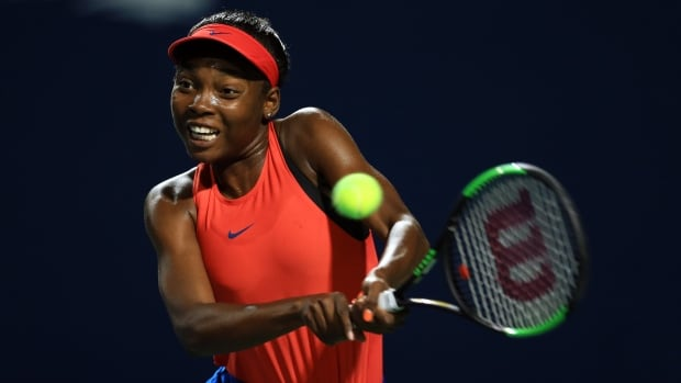 Montreal's Francoise Abanda, pictured at last week's Rogers Cup in Toronto, lost her second-round match in Cincinnati on Wednesday.