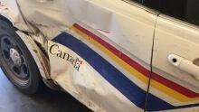 Damaged police vehicle