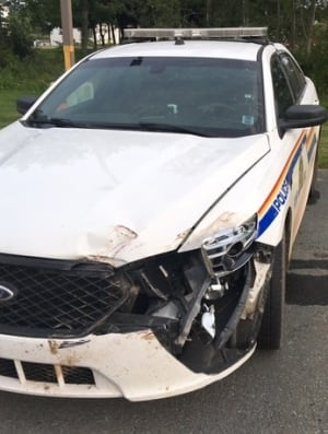 Damaged RCMP vehicle
