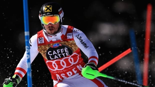 Austria's Marcel Hirscher, pictured above at the 2017 World Cup final, will miss at least six weeks of pre-season training with a broken ankle.