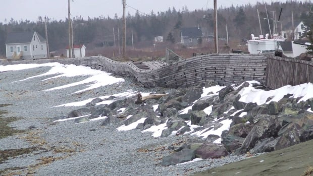The seawall in Gabarus, N.S., is shown before repairs were made by the federal government. A new documentary looks at how residents fought to have the seawall rebuilt.
