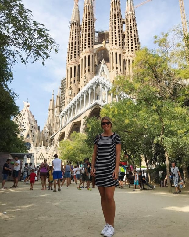 Alexis Crossley posed for a photo in front of Barcelona's iconic Sagrada Familia on Wednesday.