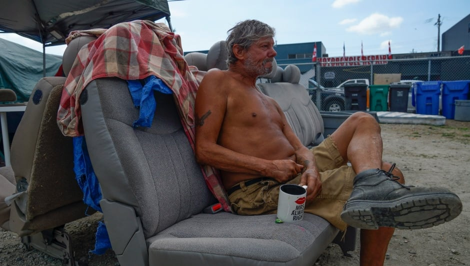 Sugar Mountain tent city resident Dennis DeGuerre August 17