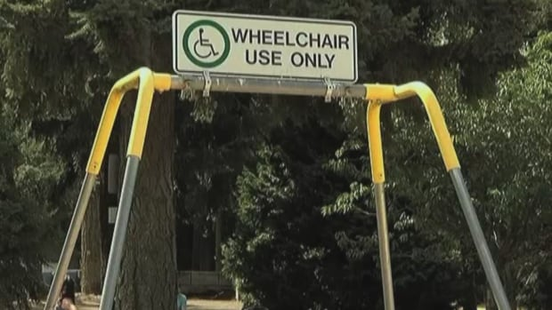 The costs of repeated vandalism to this wheelchair-accessible swing prompted the City of Parksville to disassemble it. The frame is all that remains in this image.