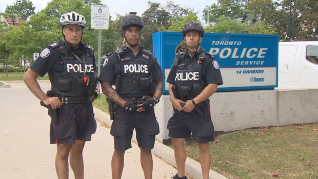 Veteran Toronto police bike officers Sgt. Jeff Zammit, Const. Tony Saffioti and Const. Nick Maicantis