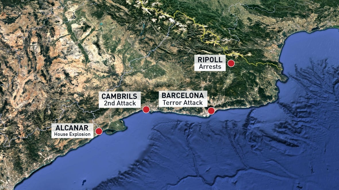 Alcanar Spain Map.Barcelona Van Driver Reportedly Among 5 Suspects Killed By Police In