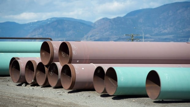 Pipes are seen at the pipe yard at the Trans Mountain facility in Kamloops, B.C. Some Indigenous leaders are trying to tout the virtues of energy development in the face of vehement resistance.