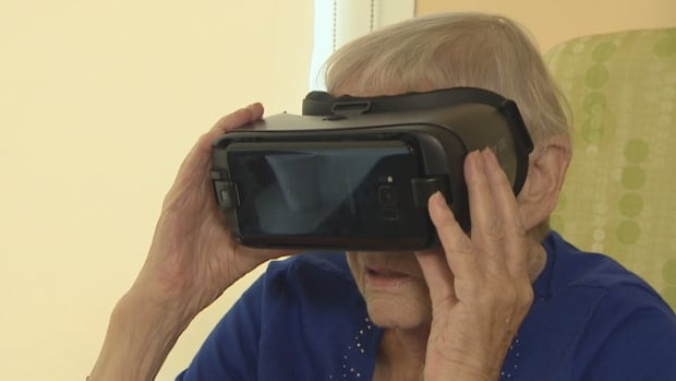 Meike Muzzi, 83, is in palliative care at Bridgepoint Health, but escapes from her hospital room using virtual reality.