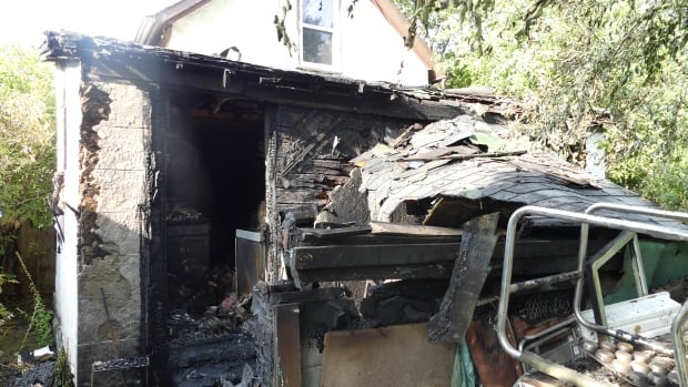 Fire crews were called to this home on Saturday morning after a blaze broke out in the back.