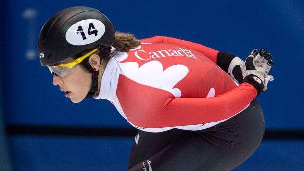 Valerie Maltais, seen at a practice session last season, has been forced to withdraw from the short track speed skating national team selections taking place in Montreal this weekend.
