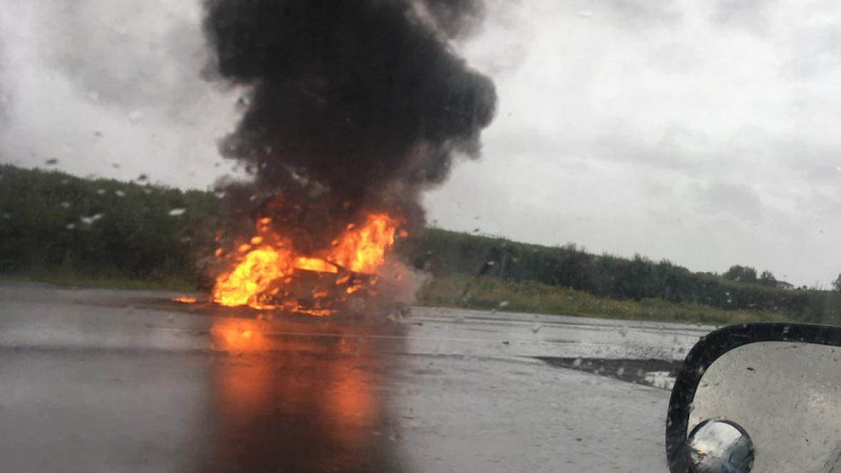 Hydroplaning leads to fiery crash near Grand Pré