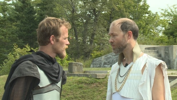 In a confrontation between Jeremy Hutton who plays Cassius, and Garry Williams, who plays Caesar, Caesar gloats about what he believes is his ultimate, untouchable power.