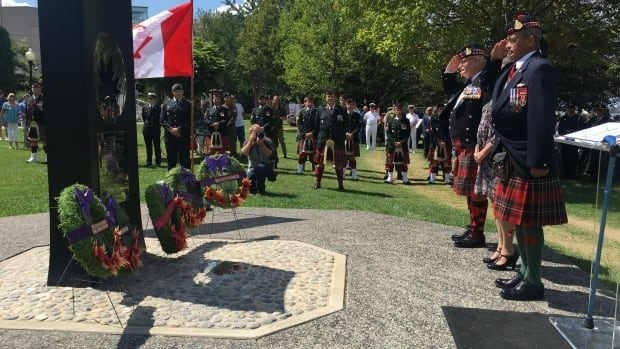 Wreaths were placed at the foot of the Red Beach monument located in Dieppe Gardens during the remembrance ceremony.