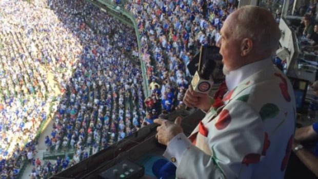 Don Cherry sings Take Me Out to the Ball Game during the seventh-inning stretch of Saturday's game between the Toronto Blue Jays and Chicago Cubs.