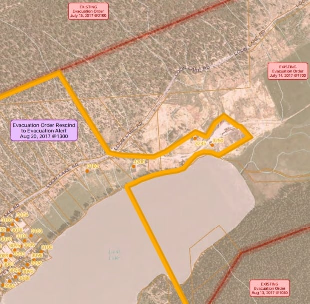 Loon Lake evacuation order rescinded map