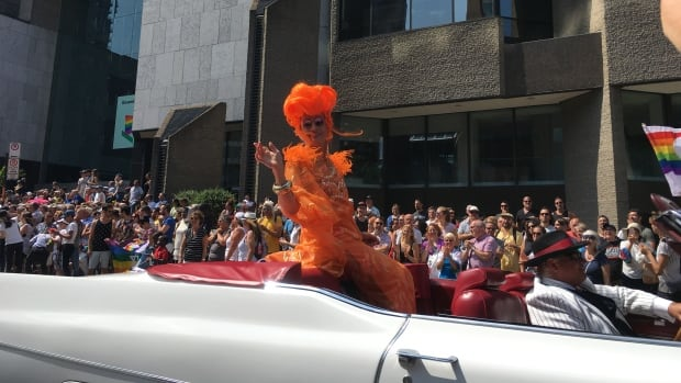 Mado Lamotte, Montrea'ls most famous drag queen, at the Pride Parade Sunday.