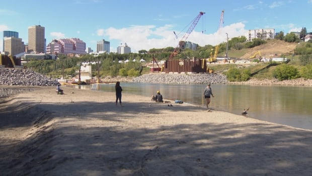 A new beach has surfaced on the south side of the North Saskatchewan River.
