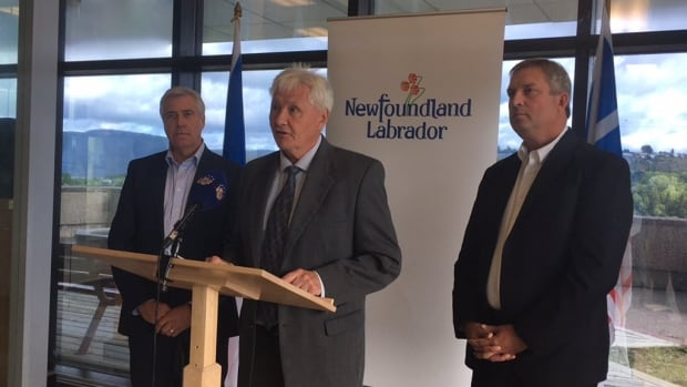 Premier Dwight Ball and MHAs Eddie Joyce and Gerry Byrne announce help for fish plant workers during a news conference in Corner Brook Monday.