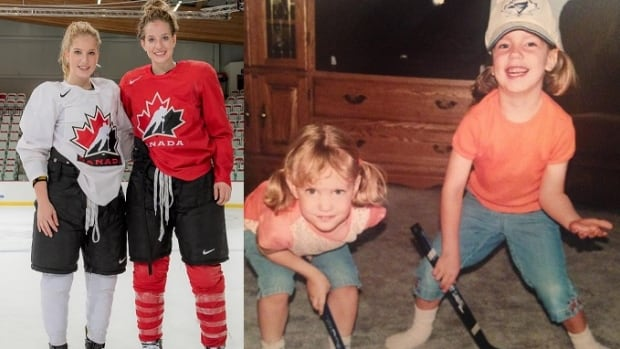 Sarah and Amy Potomak with Team Canada, and as children.