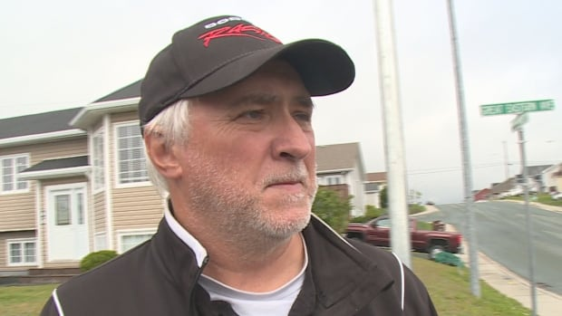 Mike Walbourne lives at the corner of Grand Western Avenue and Petite Forte Drive in St. John's and says a temporary roundabout in front of his house means he can no longer safely back his truck into his driveway.