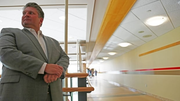 David Musyj, CEO of Windsor Regional Hospital, stands next to the hospital hallway where a 26-year-old mental health patient was stabbed on August 19. A 17-year-old patient of the mental health unit has been charged with aggravated assault.