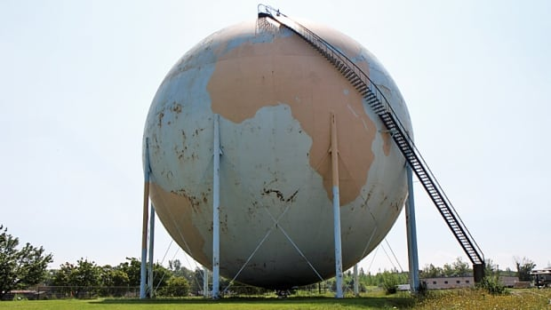 Methane gas collected from the Woodward Wastewater Treatment Plant is stored in a massive dome painted like Earth, which has been a landmark in the city for years. The dome will be repainted in the coming years as part of upgrades to the plant.