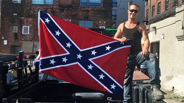 Keith Lipiec was flying the Confederate flag on his truck at a downtown Hamilton job site on Monday morning.