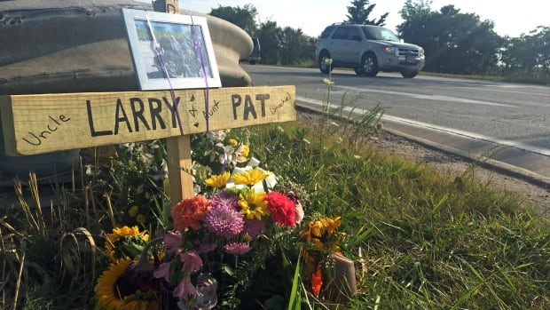 A memorial for Larry and Patricia Best, the couple was killed while riding their motorcycle on County Rd. 19.