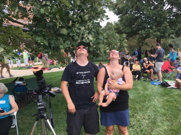 Amy Templeman and family from Saskatoon watches eclipse in Missouri