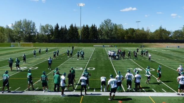 The Saskatchewan Roughriders are taking practice on the road, to Leibel Field, for the next two weeks.