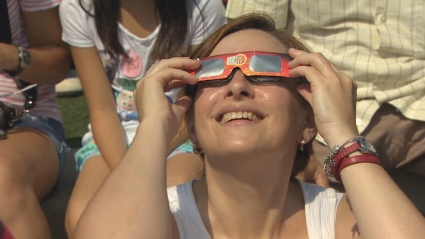 Carrie Gentes was at the Ontario Science Centre to witness the solar eclipse. This is the first time she's ventured out to see one.