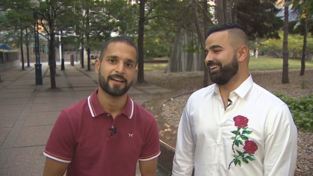Ahmed Tahir, left, and Ammar Abdul-Raheem say they just completed a cross country road trip without spending a cent.
