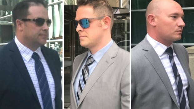 Calgary police officers James Othen, Michael Sandalack and Kevin Humfrey are charged with assault causing bodily harm. They are on trial accused of beating Clayton Prince during a traffic stop, causing broken ribs and a collapsed lung
